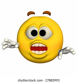 Yellow Emoticon Guy - Scared Expression
