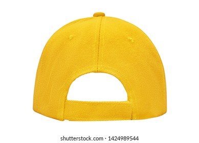 Yellow empty clear baseball cap back view isolated on white background with clipping path