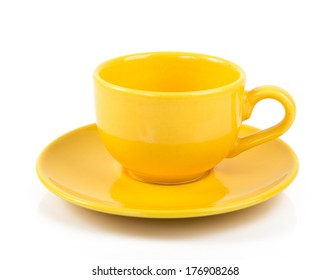 Yellow empty cup isolated on white.