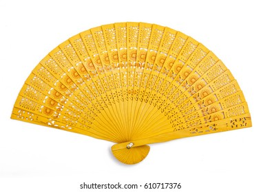 Yellow Engraved Design Wooden Hand Fan Isolated on White
