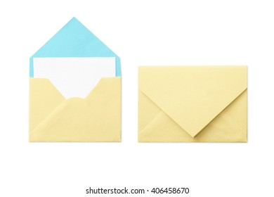 Yellow envelope with blank white card isolated on white background