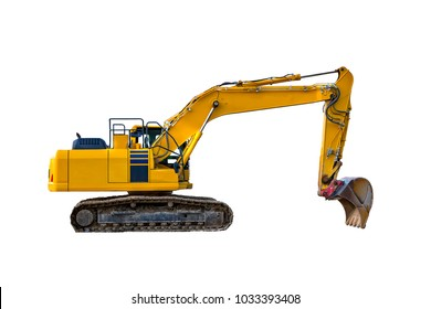 Yellow excavator in construction site isolated on white background.