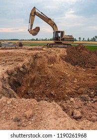 The yellow excavator on site construction