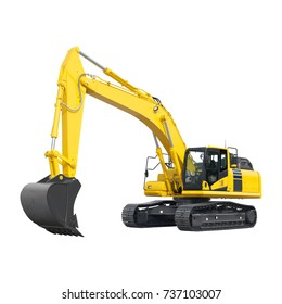 Yellow Excavator on Tracks Isolated on White. Side View of Front Hoe Loader. Industrial Vehicle. Construction Heavy Equipment Machine. Pneumatic Truck
