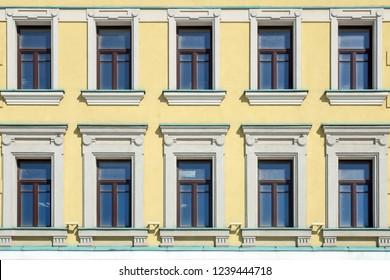 Yellow facade, Moscow, Russia