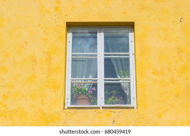 yellow facade and window with flower pots