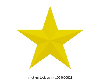 yellow faceted star with 10 sides isolated on a white background 3d rendering