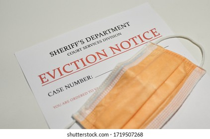 Yellow facial mask laying on top of the eviction note