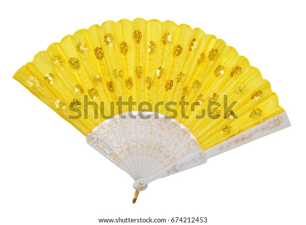 Yellow Fan on isolated white background