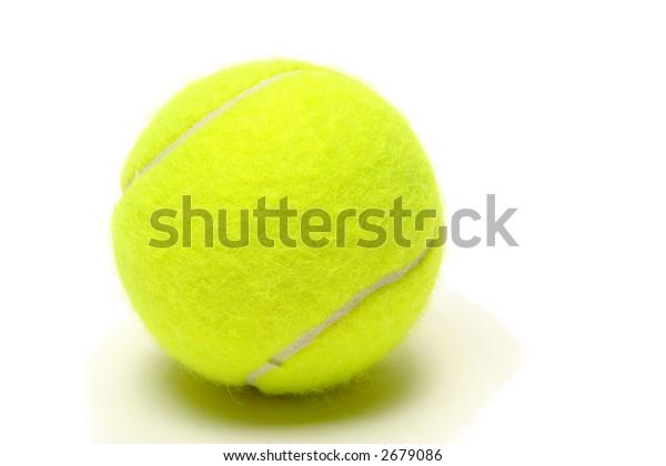 Yellow felt championship regulation tennis ball on white