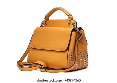 Yellow female handbag back view