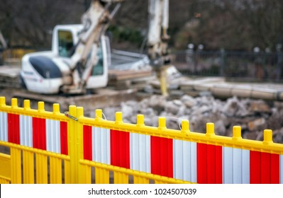 Yellow fences on road repair site
