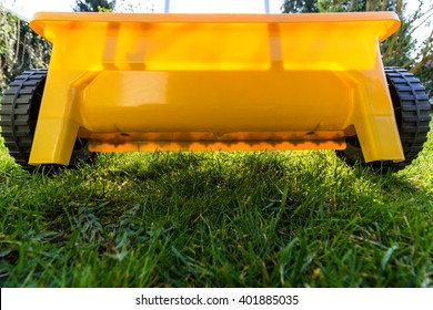 yellow fertilize lawn at garden