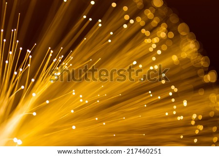 Yellow fiber optics cable