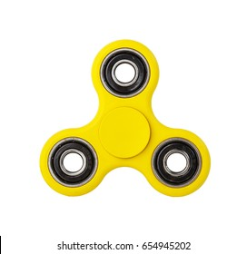 Yellow Fidget Spinner isolated on white background