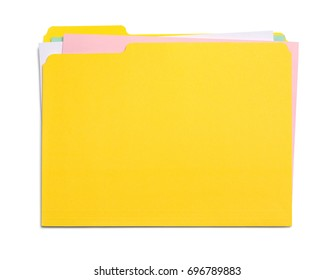 Yellow File Folder with Messy Papers Isolated on White Background.