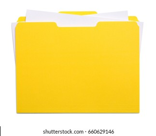 Yellow File Folder with Papers Isolated on White Background.