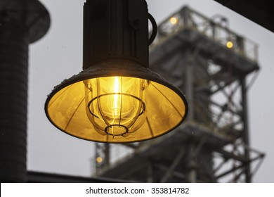 yellow fireproof street industrial lantern close up