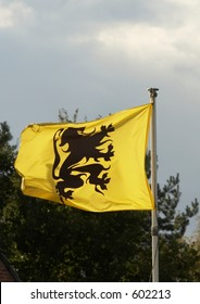 Yellow flag with black lion