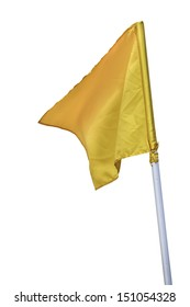 Yellow flag on corner of football field.