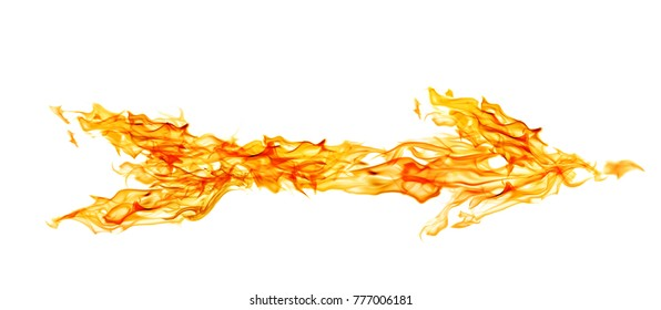 yellow flame arrow isolated on white background