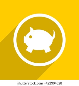 yellow flat design piggy bank web modern icon for mobile app and internet