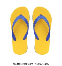 Yellow flip flops isolated on white background.