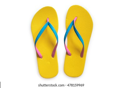 Yellow flip flops isolated on white background. Top view