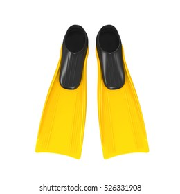 Yellow Flippers Isolated. 3D rendering
