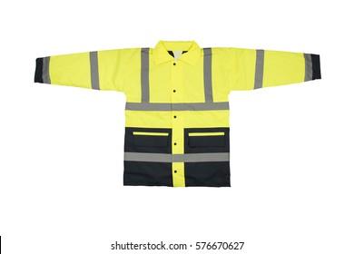 Yellow florescent hi visibility jacket isolated on the white background