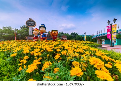 Yellow flowers at the entrance seoul land Amusement Park,seoul korea. April 13,2019
