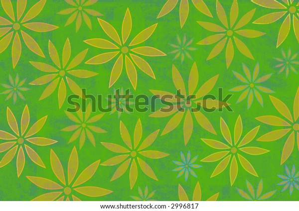 Yellow flowers on green textured background