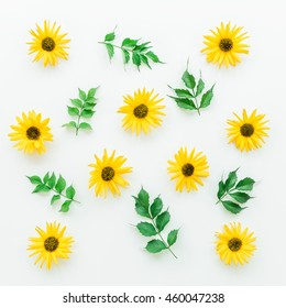 Yellow flowers on a white background. Flat lay. - Shutterstock ID 460047238