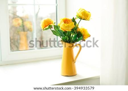 Yellow Flowers Yellow Vase On Windowsill Stock Photo Edit Now