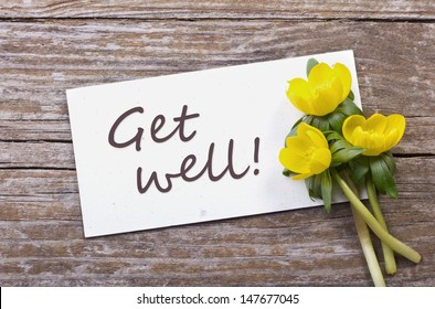 yellow flowers and white card with lettering get well/get well/flowers