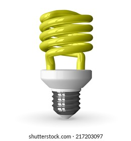 Yellow fluorescent light bulb standing, 3d render isolated on white