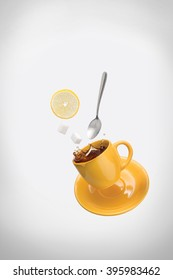 A yellow flying cup of tea with a slice of lemon, also you can see sugar cubes and a metal tea-spoon. The thematic of this photo is rainbow with liquid colors.
