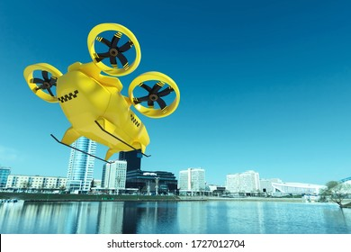 Yellow flying taxi against the sky, city electric transport drone. Car with propellers, clean air, fast ride. Mixed media, copy space