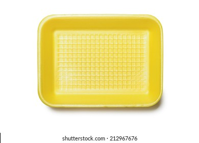 Yellow foam tray for food, isolated on white background