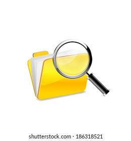 Yellow folder icon and magnifying glass. Raster copy.