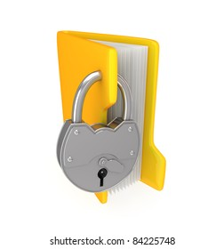 Yellow folder and iron lock.3d rendered.Isolated on white background.