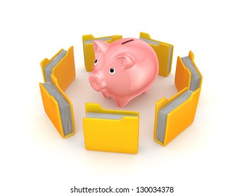 Yellow folders around pink piggy bank.Isolated on white background.3d rendered.