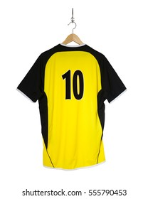 Yellow Football shirt number ten hanging on hook and isolated on white background
