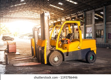 Yellow forklift in  factory.