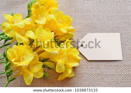 Yellow Freesia Flowers Empty Card Over Stock Photo Edit Now