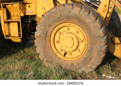 Yellow front end loader up close, South Africa
