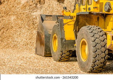 Yellow front loader with bucket down scooping wood chips for biofuel. View from left behind vehicle with pile in front of it.
