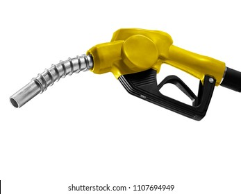 Yellow Fuel nozzle with hose isolated on white background