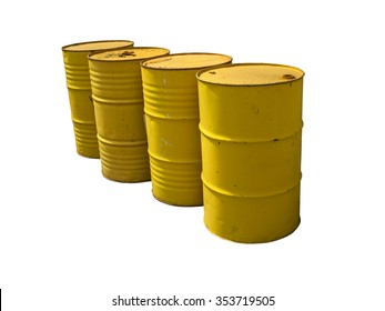 Yellow fuel tanks stacked  isolated on white background. Clipping path.