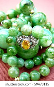 Yellow Gemstone Ring with Green Beads
